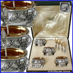 Collet French Sterling Silver 18k Gold Set 4 Salt Cellars, Spoons, Original box