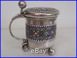 David Andersen Norwegian Russian Sterling Silver Condiment Set Salt Cellar & Pot
