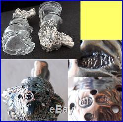 Dog Pair Salt & Pepper Shaker Cellar Set Silver Glass Antique Vintage (#5583)