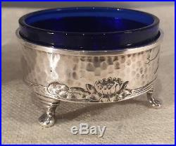 Dominick & Haff Aesthetic Sterling Silver Pair Hammered Dragonfly Salt Cellars