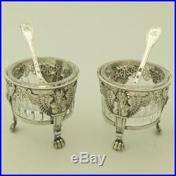EMPIRE Era 18C Antique French Sterling Silver Open Salt Cellars Pair withSpoon 950