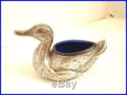 English Sterling Silver Open Salt Duck Cobalt Liner Glass Eyes Birmingham