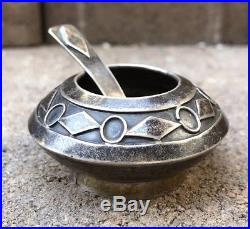 Early Old Pawn Stamped Sterling Silver Native Navajo Salt Cellar & Spoon