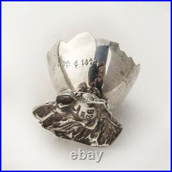 Eggshell Form Open Salt Gilt Interior Gorham Sterling Silver 1869 Mono WTR