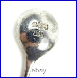 English Solid Silver Salt Dish Cruet Cellar Pot w Spoon & Bristol Blue Glass
