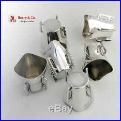 English Sterling Silver Open Salts Woods 1911 Arts and Crafts