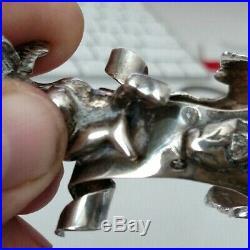 Exquisite Antique Spain sterling silver chariot angel cherub open salt cellar