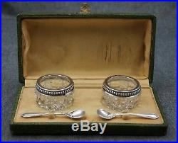 FRENCH Sterling Silver Cut Glass OPEN SALTS and SALT SPOONS with Hallmarks BOXED