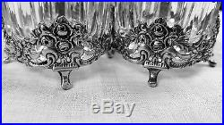 Fabulous 835 silver & crystal or glass German open salt cellars set of 3