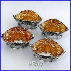 Fabulous French Sterling Silver 18k Gold 4 Salt Cellars, Spoons, Original Box