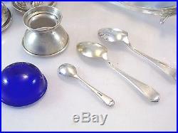 Figural English Egg Cruet Set 2 Cups Sterling Salt Cellar Cobalt Liner 2 Spoons