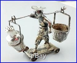 Fine Antique Chinese Export Silver Marked Rolling Basket Urn Salt Cellar Pepper