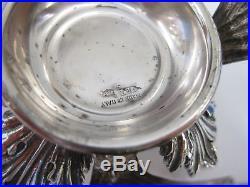 Fine Italian 925 Sterling Silver & Blue Crystal Leaf Single Salt Holder & Spoon