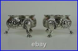 Fine Large Pair of Irish Georgian Sterling Silver Salt Cellars, 18th Cent, 198g