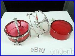 Fine Pair Of Victorian Sterling Silver & Cranberry Glass Master Salt Cellars