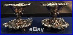 France / French 19th Century. 950 Sterling Silver Pair Of Antique Salts Cellars