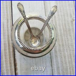 Frank M Whiting Sterling Silver & Crystal Salt Cellar & Original Sterling Spoons