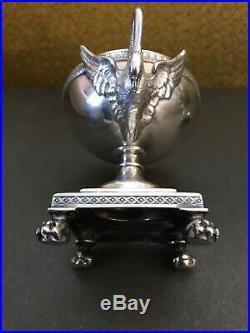 French Elegant Silver Master Salt Cellars W Swan Handles BOIN TABURET PARIS