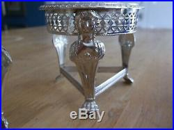 French Empire 1809 Pair Sterling Silver Salt Cellars Faces Paw Feet A. Mignerot