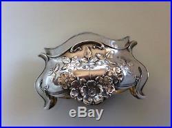 French Nouveau Sterling Silver Salt Dip Caviar Dish Albert Deflon Wild Rose Old