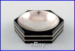 GAB (Guldsmedsaktiebolaget) art deco hexagonal salt cellar in silver and ebony