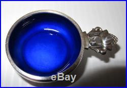 GEORG JENSEN Denmark Sterling Silver Blue Enamel Acorn Salt Cellar