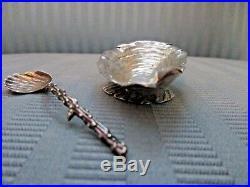 GORHAM SHELL Salt Cellar & Salt Spoon 1889 NARRAGANSETT Style STERLING SILVER