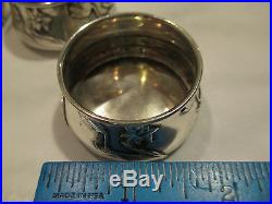 GORHAM Sterling Silver Art Nouveau Salt Cellars A3139 Lilly Flowers c1900 Set 4