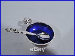 Georg Jensen Acorn Open Salts & Spoons 62 Danish Sterling Silver & Enamel