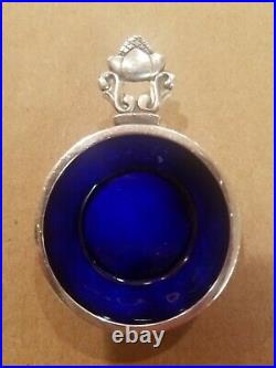 Georg Jensen Acorn Sterling Salt Cellar & Spoon withCobalt Blue Enamel Interior