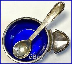 Georg Jensen Beaded Cobalt Blue Sterling Salt Cellar with Spoon