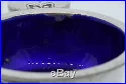 Georg Jensen Cactus Sterling Silver Cobalt Blue Enamel Salt Cellar Dish