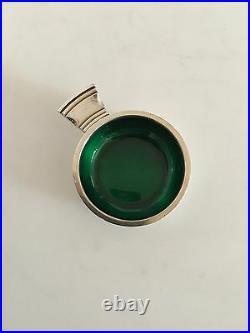 Georg Jensen Continental Sterling Silver Salt Dish No. 4 with Green Enamel