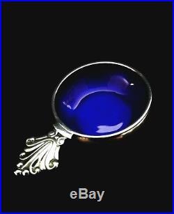 Georg Jensen Denmark Acanthus Sterling Silver Salt Cellar Blue Enamel