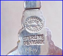 Georg Jensen Denmark Acorn 741 Sterling Blue Enameled Salt Cellar & Spoon 2Avail