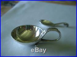 Georg Jensen Denmark Sterling Silver Salt Cellar 110 with Spoon Old Marks