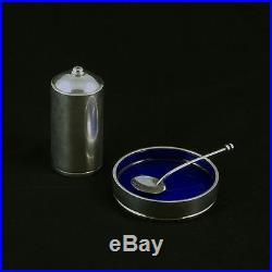 Georg Jensen Silver Salt Cellar with Spoon & Pepper Shaker #801 Bernadotte