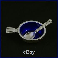 Georg Jensen Silver Salt Cellar with blue Enamel and Spoon #9 Bernadotte