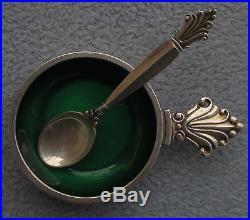 Georg Jensen Sterling Silver Acanthus Enameled Salt Cellar and Spoon Denmark