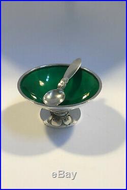 Georg Jensen Sterling Silver Cactus Salt Cellar(Green enamel) No 629 A and Spoon