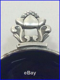 Georg Jensen Sterling Silver Enameled Acorn Pattern Salt Cellar & Spoon Denmark