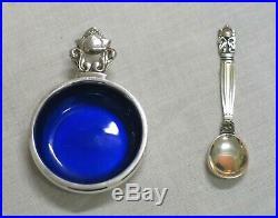 Georg Jensen blue enameled Acanthus salt cellar & 6 Acanthus teaspoons