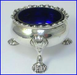 George III hallmarked Sterling Silver Salt Cellar/Dish & Liner 1762 (129g)