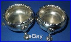 George ll Rare David Hennell silver salt cellars Cauldron shape London 1749