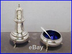 Georgian Sterling Footed Open Salt Cellar & Pepper Shaker Set Silver RB Cobalt 2