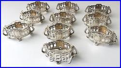German Art Nouveau set of 10 salt cellar solid silver antique jugendstil