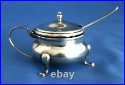 Gorham A 4959 Sterling Master Salt Cellar / Cobalt Liner Sterling Spoon H 206