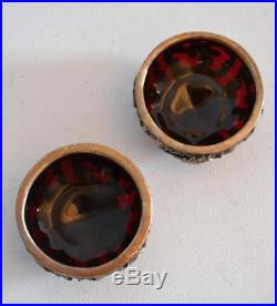 Gorham and Whiting Ruby Glass and Heavy Sterling Silver Overlay Master Salts