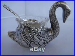 Heavy Sterling Swan Salt Cellar Glass Insert Spoon Detailed