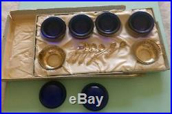 HTF Webster Set 6-STERLING SALT COBALT CELLARS & 6-STERLING SALT SPOONS w Box